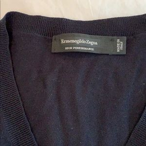 Men's Zegna Navy V-Neck Sweater
